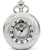 Sewor Sliver creux vintage montre de poche à quartz Shell Cadran avec deux type de chaîne (cuir + Métal)