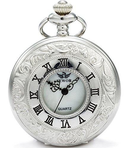 SEWOR Kleid Hohl Fall Shell Zifferblatt Japanisches Quarz-Uhrwerk Taschenuhr mit Fashion Double Kette (Metall & Leder) (Silber)