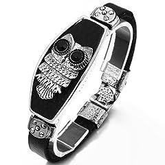 Idea Regalo - JewelryWe Gioielli bracciale da uomo donna Cool Unico pelle gufo braccialetto con lega chiusura