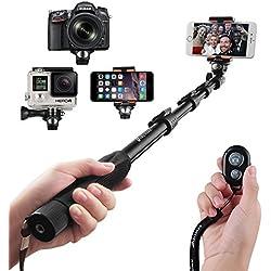 Arespark Bastone professionale per selfie, durevole, monopiede, per iPhone, smartphone Android, GoPros, DSLR e fotocamere digitali, allungabile fino a 127cm