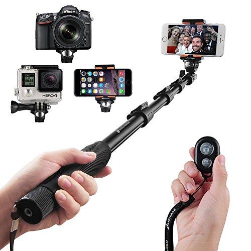 Palo Selfie, Arespark Palo Selfie Bluetooth Inalámbrico Extendible y Profesional Función de Auto-bloqueo Compatible con Sistema Android IOS, Cámaras Digitales, Gopros, y Iphone 7, con Adaptador para Trípode y Abrazadera de Teléfono, Negro.