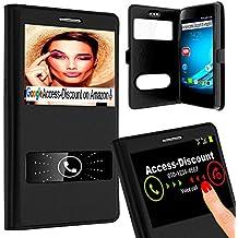 Custodia Ultra-Slim, tasca con 2Finestra apertura schermo per Wiko Rainbow Jam 4G–di colore nero