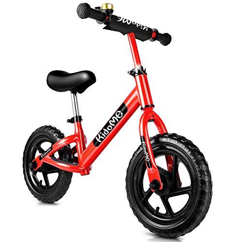 KidoMe 12' Bicicletta da Equilibrio Prima Bici Senza Pedale Regalo per Bambini Acciaio al Carbonio Pneumatici Senza necessità di gonfiarsi Sella e Manubrio Regolabile 2, 3, 4 ,5 e 6 Anni (Rosso)