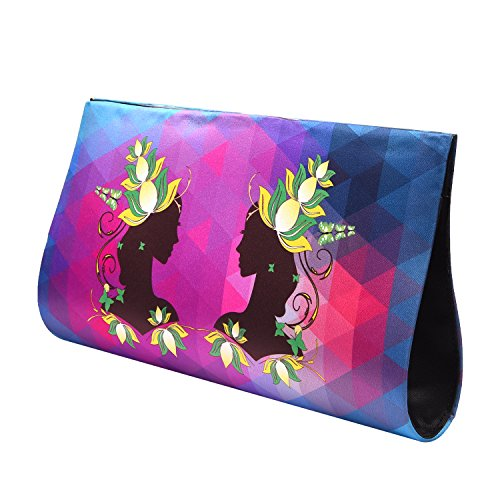 Tangy Turban Women's Digital Print Designer Clutch Pink and Purple Twin Lady