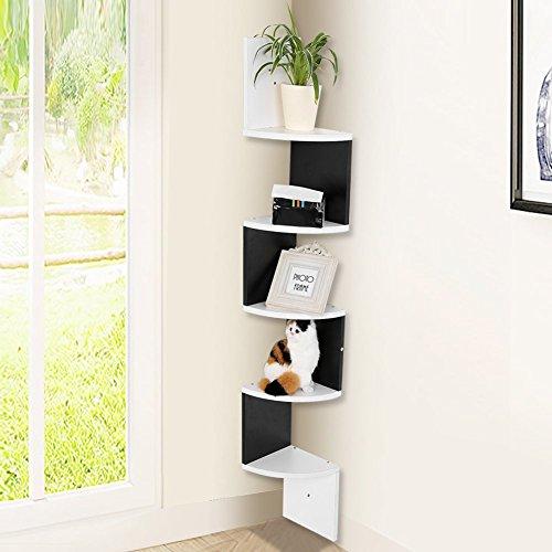 Mensola da muro di 5 ripiani,mensola a muro per angolo,scaffale libri angolare a parete,20*20*120cm