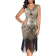 Flapper vestidos de mujer de los años 20 con cuello en V con cuentas de flecos