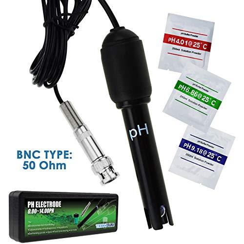 TEKCOPLUS PH Elektrode mit 150cm 1500mm 59inch BNC Kabel und Lösungen für Wasser, Pool, Hydroponik, Kalibrierlösung, Aquarium