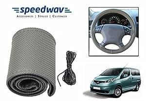 Speedwav Leatherette Car Steering Wheel Cover Grey M-Nissan Evalia