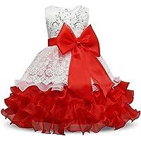 FXFAN Ropa para Niños Ropa de Encaje con Volantes de Encaje Vestido de Novia de la Muchacha dressZHANGM (Color : Rojo, Tamaño : 110)