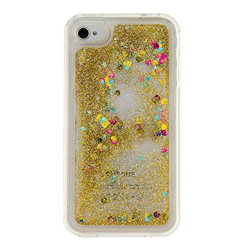 MOONCASE iPhone SE Case, Glitter Sparkle Bling Liquide Transparent Étui Coque pour iPhone SE/iPhone 5S 5/iPhone 5C Soft TPU Gel Souple Coque Housse de Protection (Smile) Or