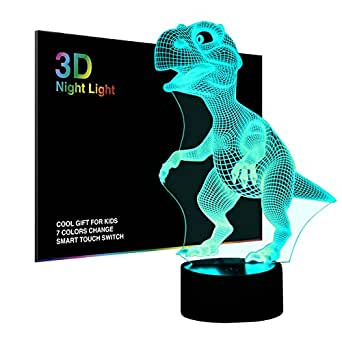 3D Night Lights for Children, Kids Night Lamp, Dinosaur