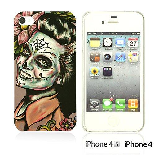 OBiDi - Skull Pattern Hardback Case / Housse pour Apple iPhone 4S / Apple iPhone 4 - Gentlemen Sugar Skull Woman With Sugar Skull Face