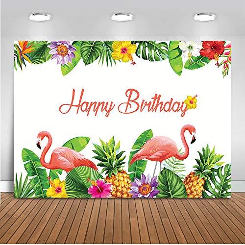 Mehofoto Geburtstag Party Hintergrund 7x5ft Flamingo Party Dekoration für Kinder Erwachsene Foto Hintergrund Bunte Blumen Grün Blätter Fotografie Hintergrund