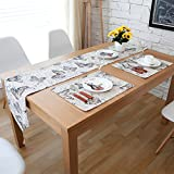 Di Grazia Butterfly Print Linen Table Runner with Tassel & Placemats Set (Set of 7; 1 Table Runner, 6 Placemats)