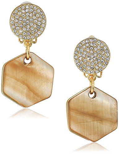t-tahari-pave-top-with-hexagon-mother-of-pearl-disc-drop-gold-brown-clip-earrings