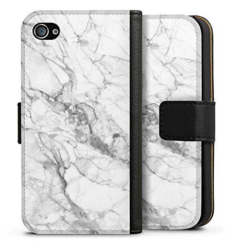 Apple iPhone 6 Hülle Case Handyhülle Marmor Marble Marmoriert Sideflip Tasche schwarz