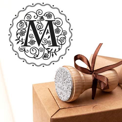Buchstabe M Stempel, Alphabet Initiale M, Benutzerdefinierte Monogramm-Initiale, Hochzeit Gefälligkeiten, Geburtstag Initiale M