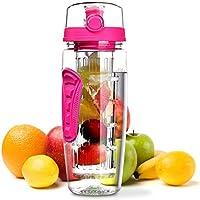 OMORC Bouteille de Sport Transparente sans BPA avec infuseur à Fruits, Rose