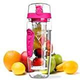 Omorc Transparent sans BPA Infuseur à fruits Bouteille de sport Rose