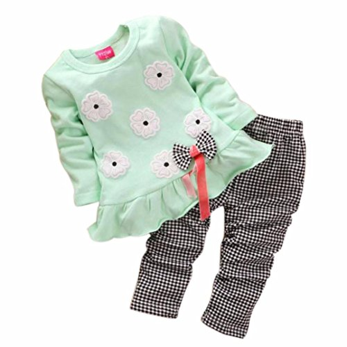 Culater® Shirt per bambini ragazze a maniche lunghe Flower Bow Plaid Pant Set (100, verde)