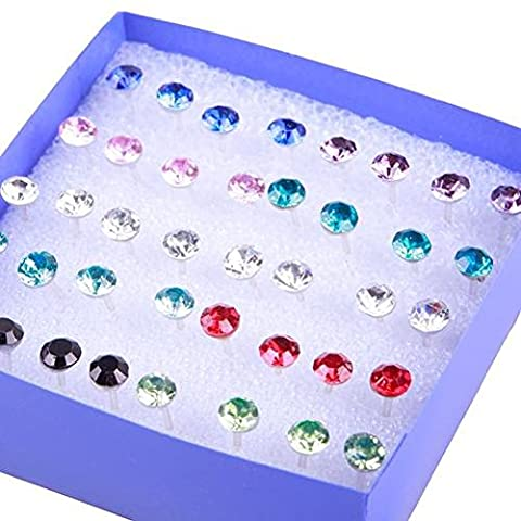 TR.OD Wholesale 20 Pairs Crystal Rhinestone Round Earrings Ear Studs Pin Clip With Clear Storage Display Box Mixed Color