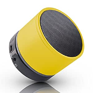 Yezz Billy 4 Compatible Mini Bluetooth Wireless Speaker (S10)/Portable Audio Player Play FM Radio, audio from TF card and Auxiliary input - (YELLOW) by Mobilefit