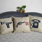 Luxbon Set di 3 Telefono Camera Pistola Federa per Cuscino in Contone Lino Copricuscino Decorativo per Casa Divano Sedia Stanza Letto 45 x 45 cm