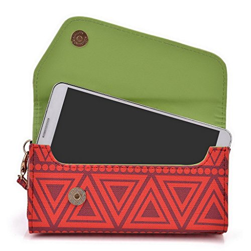 Kroo Pochette/étui style tribal urbain pour Alcatel Flash Plus Multicolore - vert Multicolore - rouge