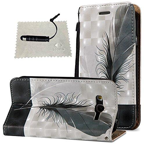 Tasche Luxus Hülle für Samsung Galaxy Grand Neo Plus (i9060) Leder Hülle, Handytasche SchutzHülle Brieftasche Wallet Flip für Samsung Galaxy Grand Neo Plus (i9060), TOCASO Leder Case Cover Glitter Str Schwarze Feder