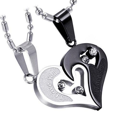 Cupimatch 2-Teilig Herren Damen Edelstahl I Love You Herz Strass Puzzle Passender Anhänger Paar Halskette mit 50 cm & 55 cm Kette (Edelstahl(Schwarz))