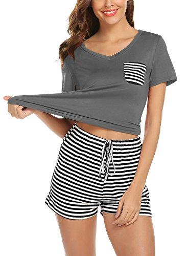 0fbbf9a9d7ba53 Women's Pajamas Set Loungewear Short Sleeve Soft Modal PJ Set Nightwear  Sleepwear for Summer (Large
