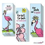 3x 4 Flamingo-Lesezeichen | dv_253 | 3 Motive | 12er Set | Einschulung Schulanfang Schultüte Schulstart Geschenkidee Geburtstag Set Tropical Buch Kapitel Leseratte Lesen Wälzer Lektüre