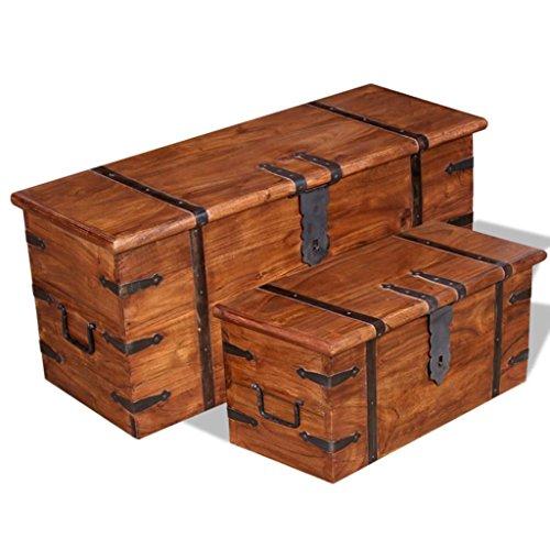 Lingjiushopping Set 2 pièces Coffre en Bois Massif sheesham matériau : Bois Massif avec Finition Miel et Traitement et Palissandre Malles et cassapanche