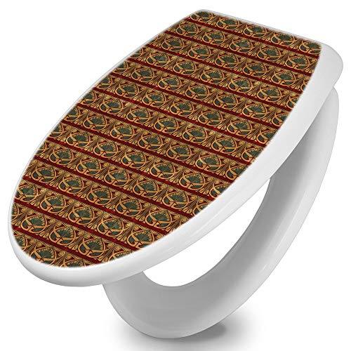 banjado Toilettendeckel mit Absenkautomatik | WC Sitz 42cm x 4cm x 37cm | Klodeckel weiß | Klobrille mit Edelstahl Scharnieren | Toilettensitz mit Motiv Art Nouveau