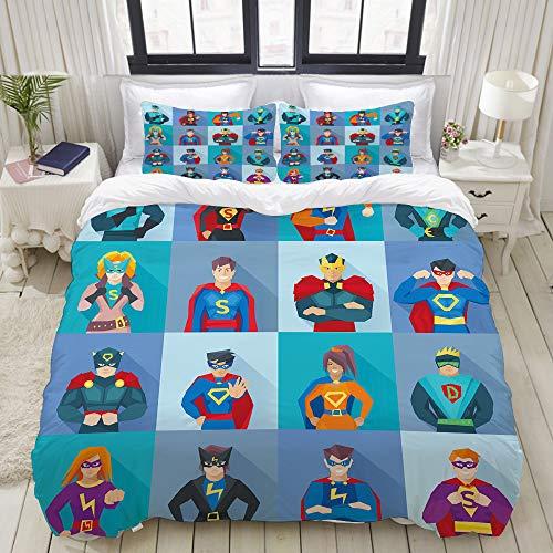Kostüm Paare Comic - MIGAGA Bedding Bettwäsche-Set,Charaktere mit übernatürlichen Kräften in besonderen Kostümen Comic Strip Humor,Mikrofaser Bettbezug und Kissenbezug - (160 x 220 cm)