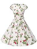 Dressystar Damen Vintage 51er Cap Sleeves Dot Einfarbig Rockabilly Swing Kleider Kleine Weiße Kirsche A XXXL