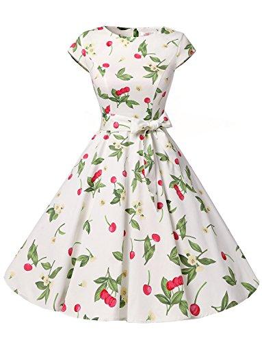 Dressystar Damen Vintage 50er Cap Sleeves Dot Einfarbig Rockabilly Swing Kleider Kleine Weiße Kirsche A S