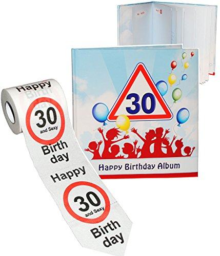 alles-meine.de GmbH 2 TLG. Set _ Geburtstag -  30 Jahre - Happy Birthday  - Erinnerungsalbum / Fotoalbum + Toilettenpapier Rolle - Gebunden zum Einkleben & Eintragen - Album & ..