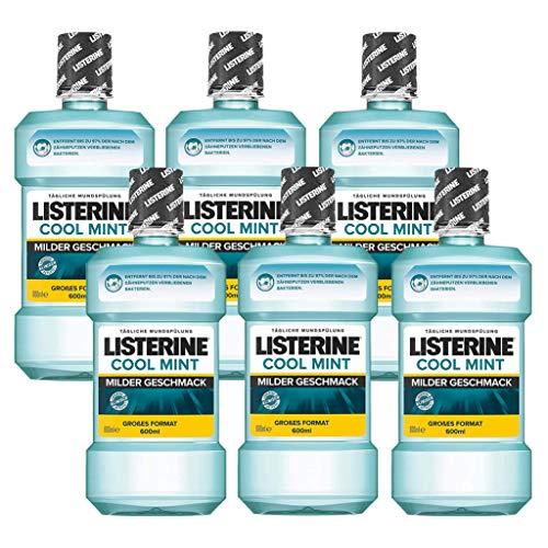 Listerine Cool Mint Mild Antibakterielle Mundspülung (mit mildem Minzgeschmack, für starke Zähne) 6er Pack (6 x 600 ml)