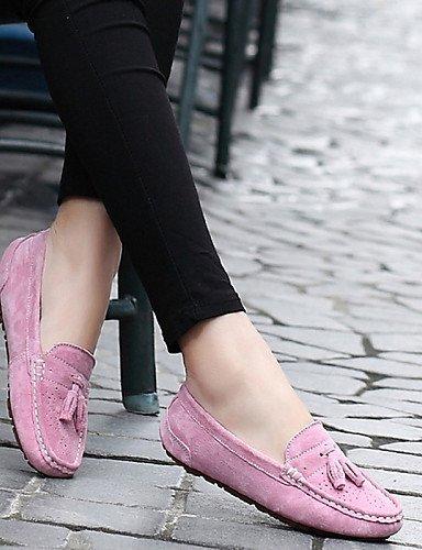 ShangYi gyht Scarpe Donna-Mocassini-Ufficio e lavoro / Formale / Casual / Sportivo / Serata e festa-Comoda-Piatto-Scamosciato-Rosa / Grigio Pink