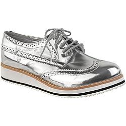 Scarpe Basse Da Donna Mocassini Creepers Suola Doppia Con Lacci Eleganti Scuola scarpe numero GB - argento metallizzato, 36