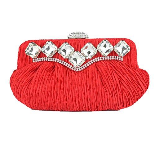 Frauen-Silk Frauen-Telefon-Verfassungs-Ketten-Schulter-Beutel-Partei-Handtasche Red