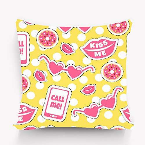 Yuerb Kissenbezug mit Buntem Muster, lustige Sticker, Kiss Me Call Me Hintergrund, Coole Flicken, große Lippen, Brille, Donuts, Handydrucke, dekorative quadratische Akzent-Kissenhülle, 45,7 x 45,7 cm