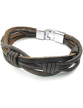 Adisaer Lederarmband Herren Damen Leder Armband Lederarmbänder 20.5CM Länge 1.5CM Breite Braun Edelstahl Verschluss