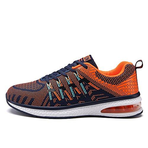 Santiro Unisex Herren Damen Laufschuhe Sportschuhe Schnüren Sneakers Freizeitschuhe. Orange