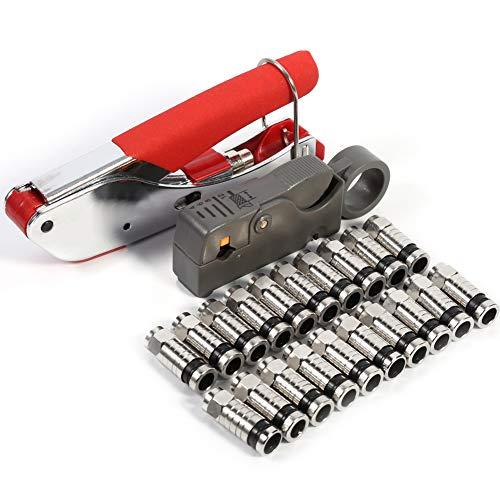 Cocoarm Kompressionszange Set Stecker Werkzeug Koax-Kabel Stripper RG58 RG59 RG6 Crimper Koaxialkabel mit 20 stück Kompressions-F-Stecker für SAT Kabel Koaxialkabel Rg6-crimper