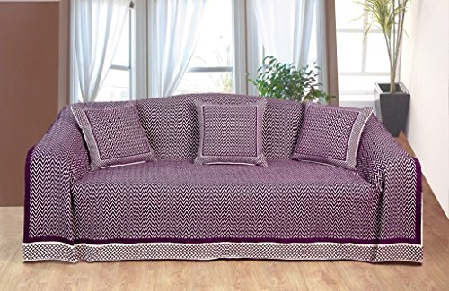 K Living 70 x 100 cm, 60 pourcent Polyester 40 Flamestitch/Couvre-Lit en Coton Prune/Naturel