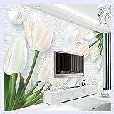 BHXINGMU Benutzerdefinierte 3D Wandbild Tapete Moderne Europa 3D Tulip Jade Wohnzimmer Tv Hintergrundbild Wand Covered Wandbild 190Cm(H)×250Cm(W)