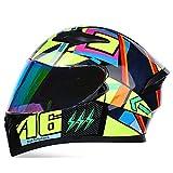 YAYUMD Motorradhelm,Klapp Helm Integral,Motorrad Roller Helm,Visier Helm,Universalhelm für Männer und Frauen,C,XL