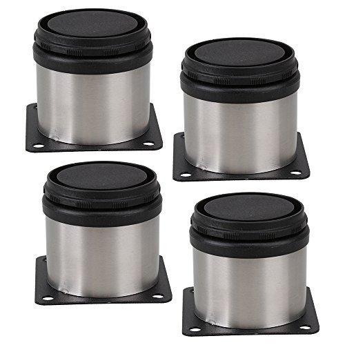 BQLZR Armario de muebles Patas de metal Patas de cocina de acero inoxidable ajustables Redondo negro y plata 50 x 50 mm Paquete de 4